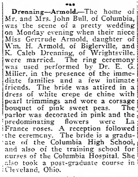 1919 Drenning - Armold wedding -