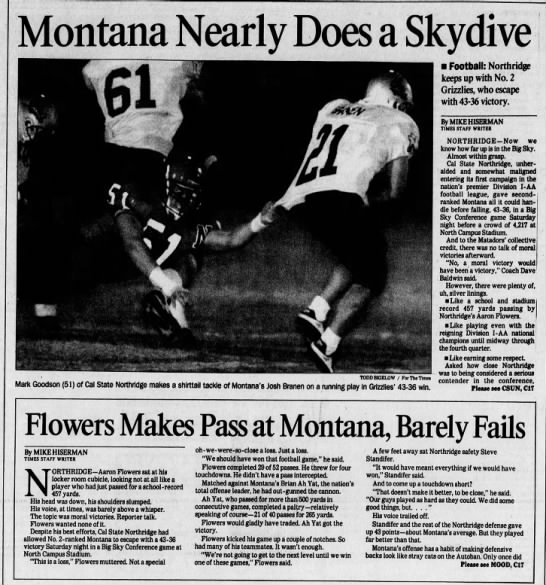 CSUN 19961103 Montana Nearly Does a Skydive -