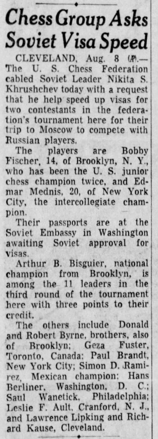 Chess Group Asks Soviet Visa Speed - Chess Group Asks Soviet Visa Speed CLEVELAND....