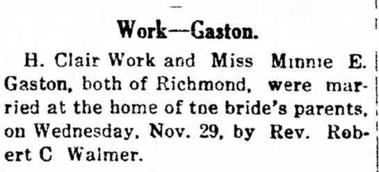 Clair Work - Minnie Gaston marriage 29 Nov 1911 -