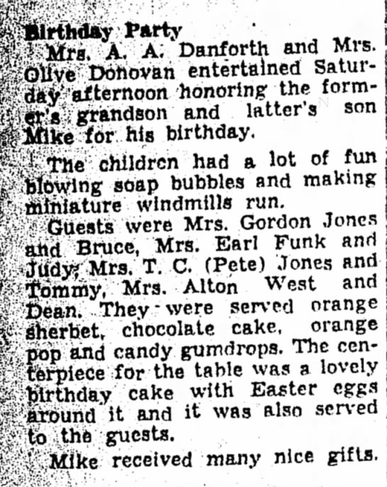 Dot - attended a b-day part 21 Mar 1943 -