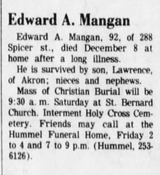 Akron Beacon Journal Obituary - Edward A Mangan -