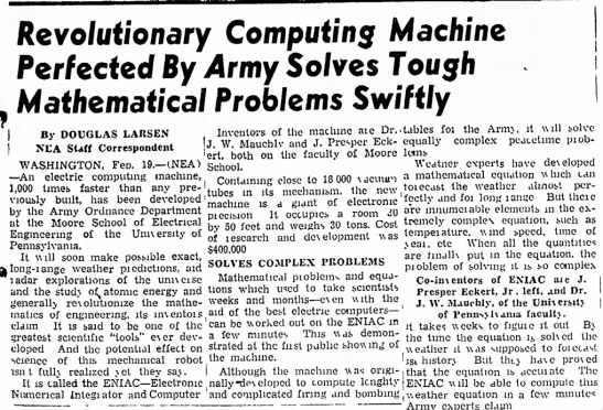 ENIAC gets some post-war publicity, Eckert and Mauchly are properly credited for its invention. -