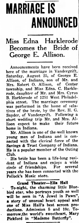 HARKLEROAD MARRIAGE 1917 -