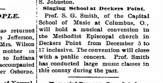 Prof S.G. Smith of the Capital School of Music at Columbus Ohio 03 December 1904 -