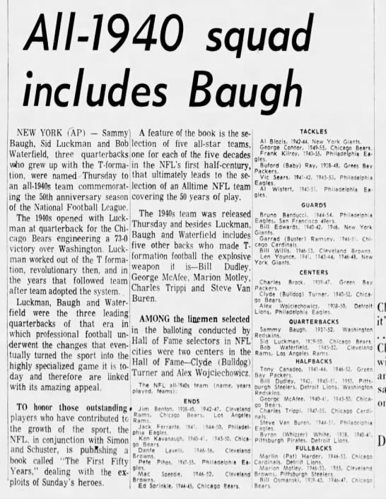 All-1940 squad includes Baugh -