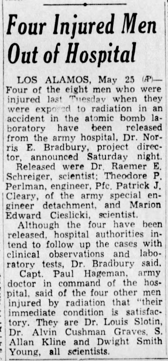 Four injured men out of hospital, Louis Slotin (radiation exposure) (1948) -