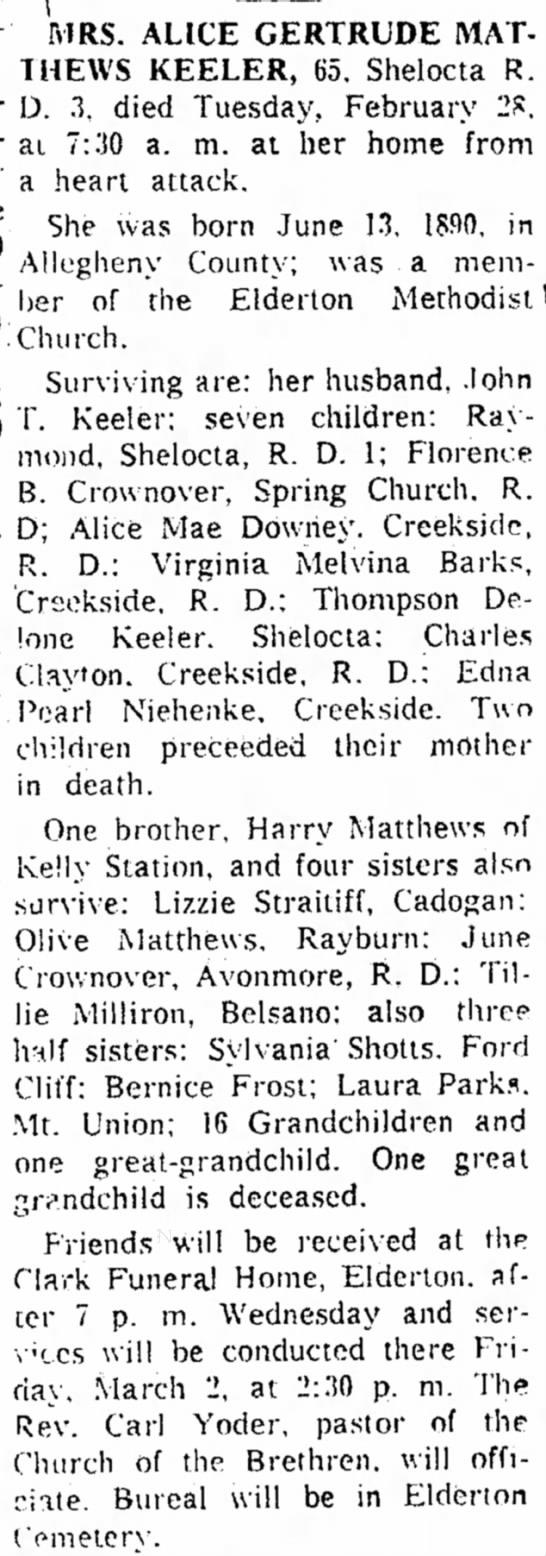 Alice Mathews Keeler obituary -