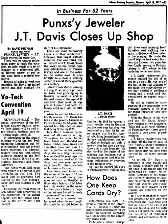 Punxs'y Jeweler J.T. Davis Closes Up Shop - , A»ril U, H77.-IS /n Business for 52 Years...