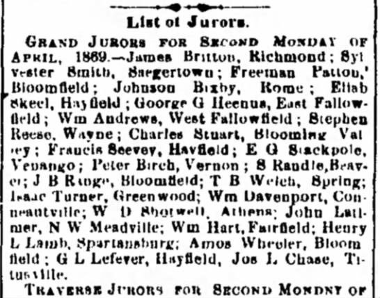 1869. Johnson Bixby, Grand Juror for Second Monday of April, 1869. -