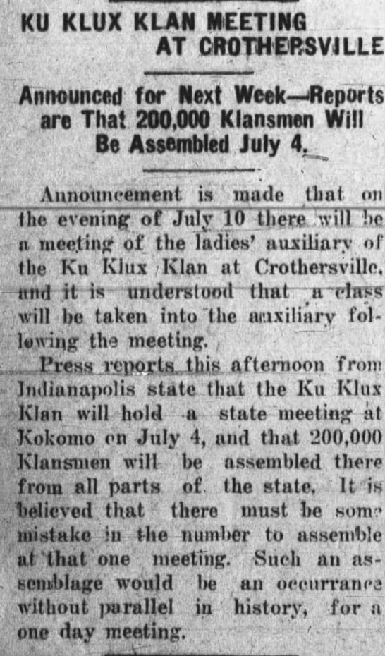 Estimate of 200,000 for Klan rally in Kokomo, Indiana on July 4, 1923 -
