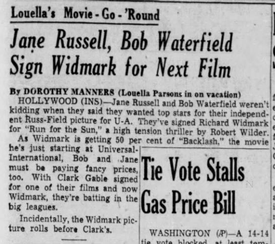 Jane Russell, Bob Waterfield Sign Widmark for Next Film -