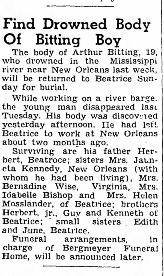 Arthur Bitting drowning - 5 Sep 1947 - Find Drowned Body Of Bitting Boy The body of...