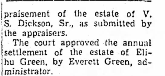 Elihu Green Annual Estate Settlement, Beckley Post Herald; Beckley WVa, August 21, 1950 pg 2 -