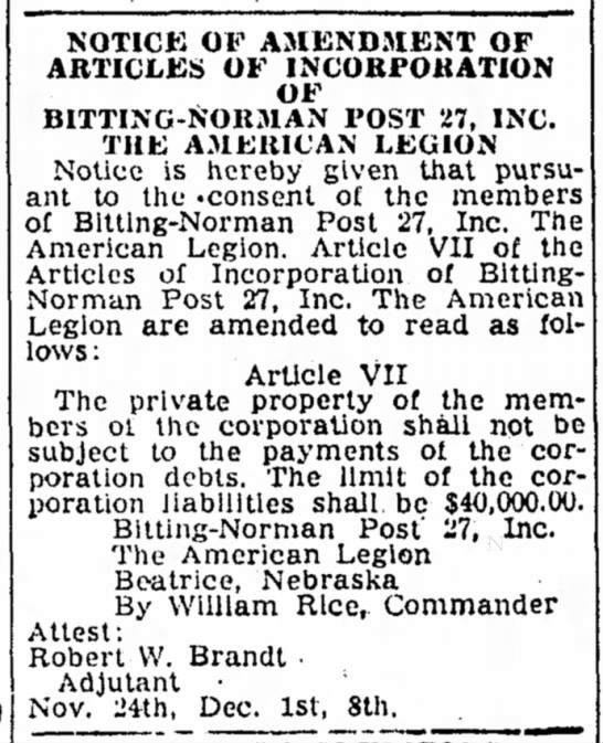 Bitting Norman Post 27 - 24 Nov 1958 - NOTICK OF AMENDMENT OF ARTICLES OF...