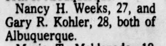 Gary R. Kohler and Nancy Weeks marriage license -
