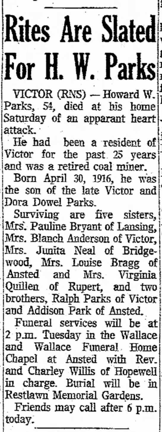 Howard Parks - obituary - Beckley Post - Herald ( Beckley, WV ) January 25, 1971 -