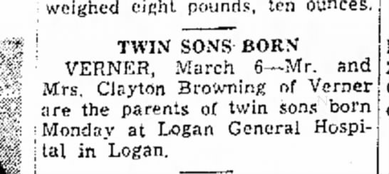 Dale and Dallas Browning birth announcement. Mar 3, 1952 -