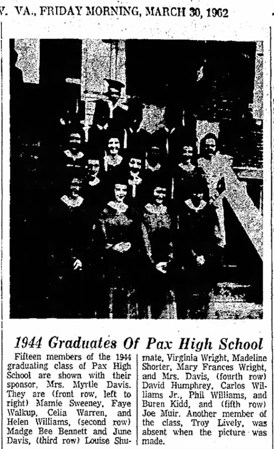 Pax High School March 30 1962 - VA,, FRIDAY MORNING/MARCH 30,1962 Fort Clung,...