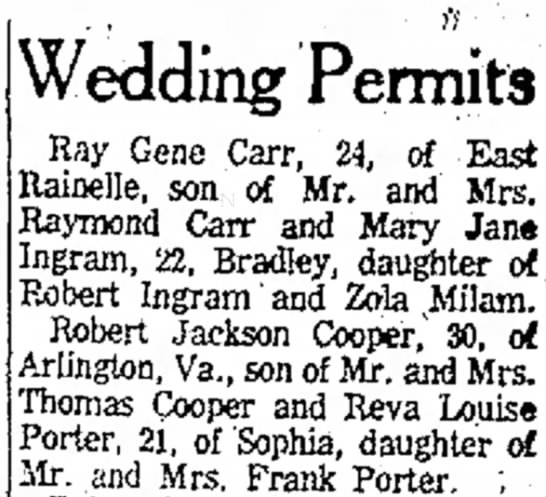 Reva Louise Porter March 30 1962 Wedding Permit - . , i'i Wedding Permits Ray Gene Carr, 24, of...