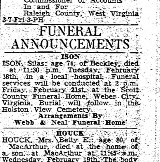 Funeral Announcement, Silas Ison  -