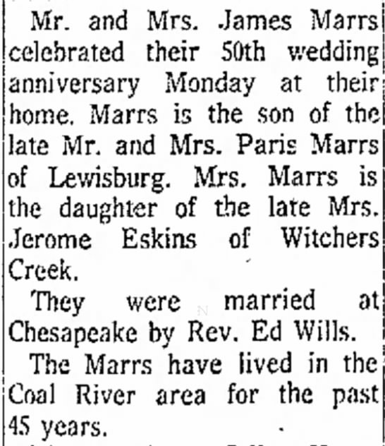 Marrs, daughter of Eskins, Jerome, 50th anniversary -