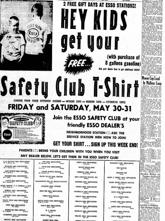 Esso Safety Club, Ison's Esso Servicecenter, Rt 1 Scarbro