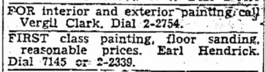 Vergil Clark Paint ad 15 Nov 1952 -
