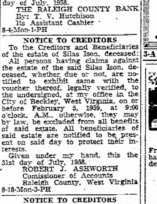 Notice to Creditors, Silas Ison