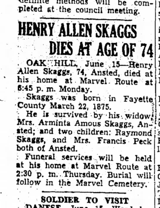Obt. of Henry Allen Skaggs