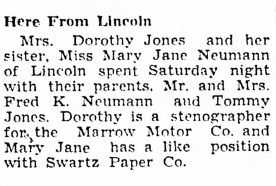 Beatrice Daily Sun 27 Oct 1947 Dorothy and Mary visiting Wymore -