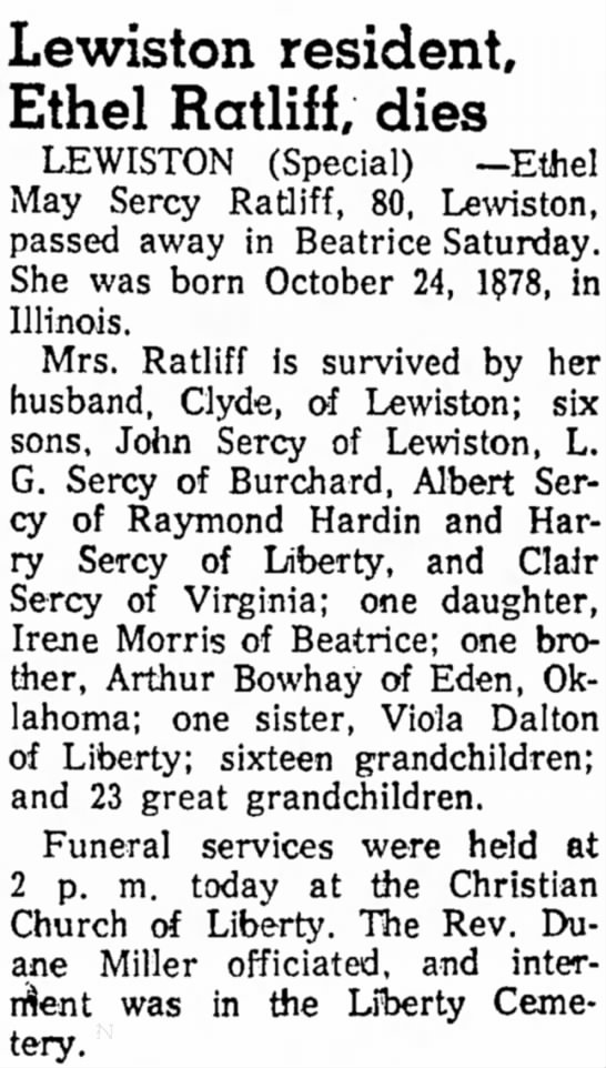Grandpa Bowhay's sister's newspaper death article in Beatrice Daily Sun of Dec 15, 1958. -