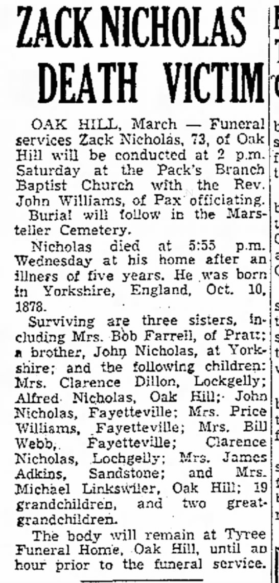 Beckley Post-Herald, 23 March 1951, page 7, column 1 -