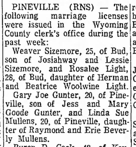 Herman/Beatrice Woolwine - by by PINEVILLE (RNS) -- The following marriage...