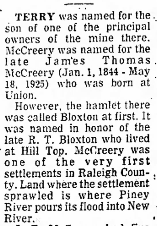 WV Mining Towns - Bloxton, WV (RJB) - 16 Aug 1974 - Beckley Post-Herald (Beckley, WV) -