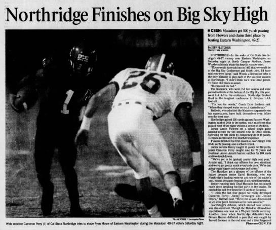CSUN 19961117 Northridge Finishes on Big Sky High -