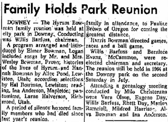 Hyrum Bowman Family hold reunion in Downey Park -