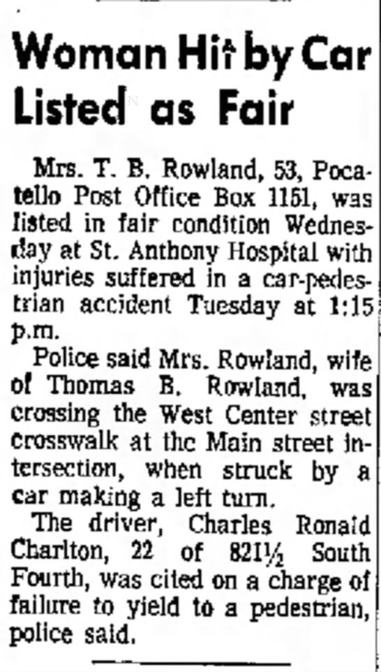 Mimi hit by car on 8 FEB in  10 February 1966 paper -