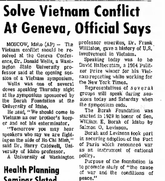Story on Vietnam Symposium in Moscow, Feb 1968 -