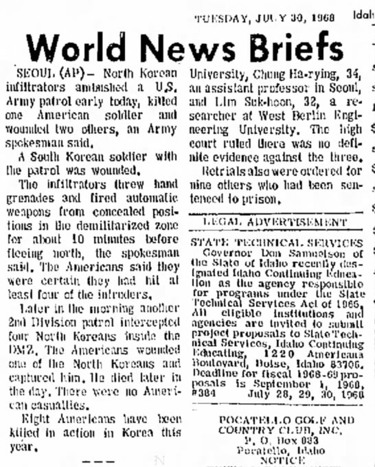 Tuesday, July 30, 1968 Idaho State Journal Pocatello, Idaho -