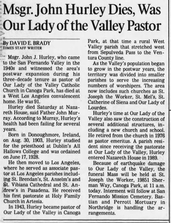 Msgr. John Hurley Dies, Was Our Lady of the Valley Pastor -