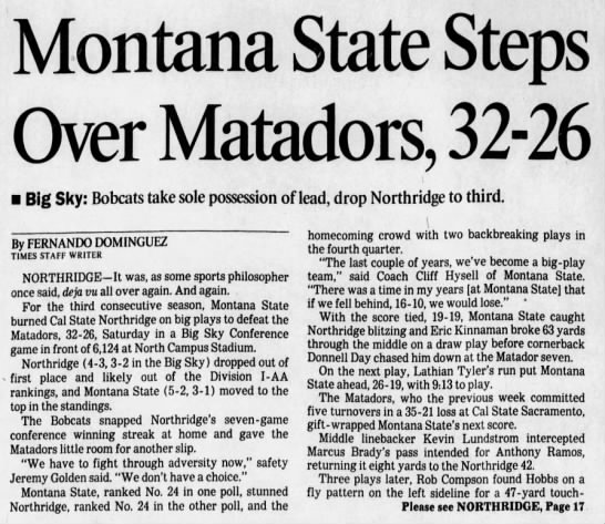 Montana State Steps Over Matadors -