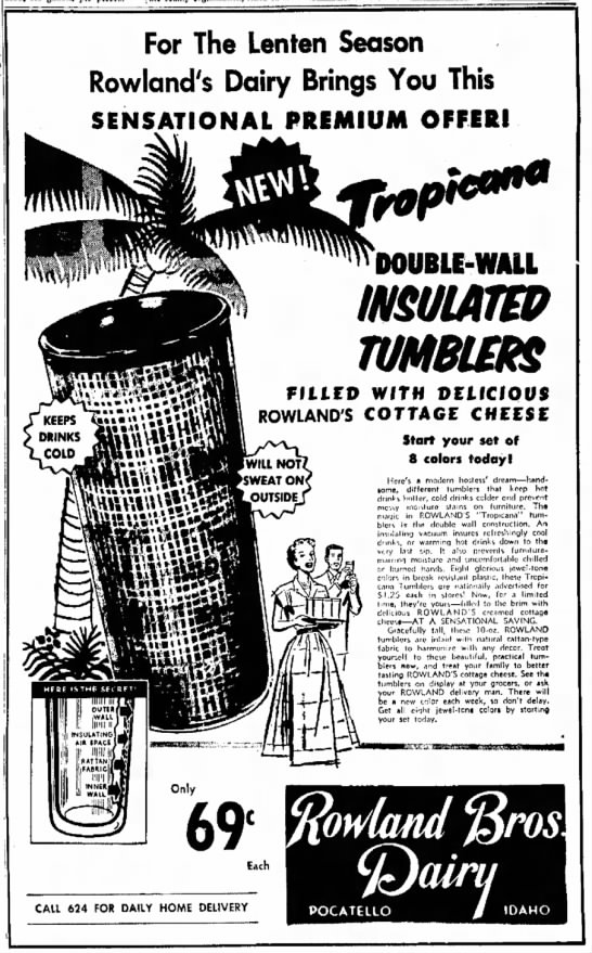 Rowlands insulated tumbler ad 23 February 1955 -