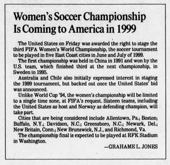 1999 FIFA Women's World Cup host awarded (1996) -