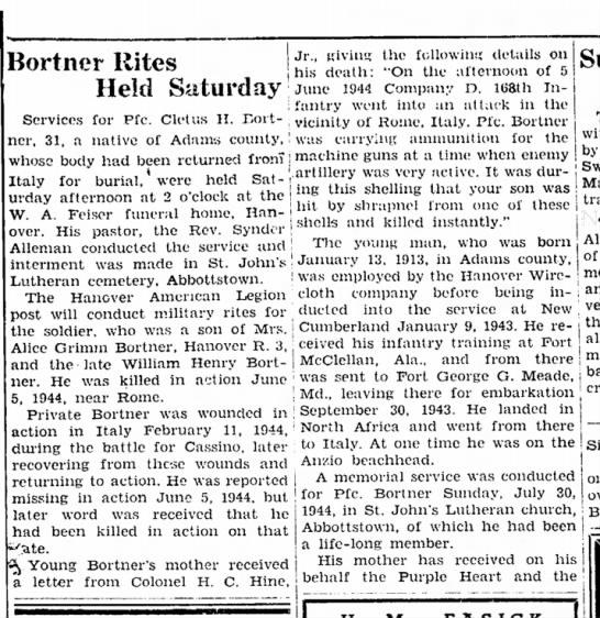 Cletus Bortner obit Aug 1948 -
