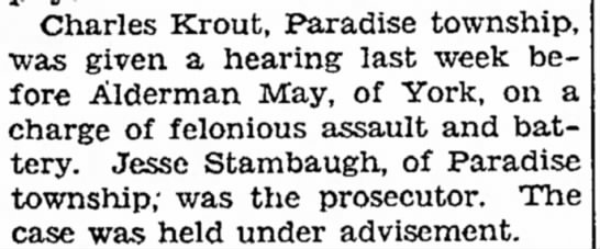 Charles Krout assault hearing-Aug 1932 -