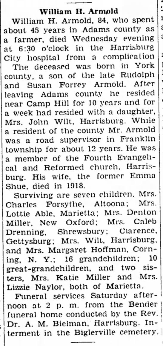 1946 Wm H Armold obituary -