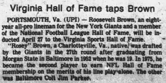 Virginia Hall of Fame taps Brown -