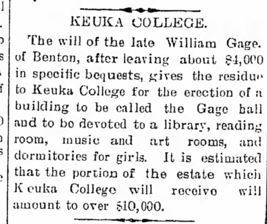 Gage Hall-Library at Keuka -