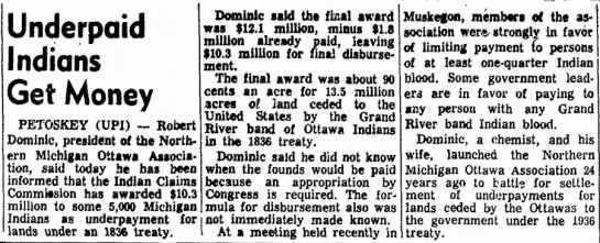 Underpaid Indians Get Money, The Holland Evening Sentinel (Holland, Michigan) 4 January 1972, p 28 -